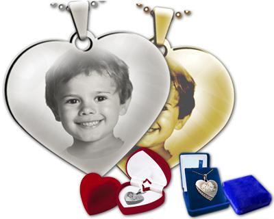 Super Pendentif Gravé avec Photo Personnalisée : Coeur Agenté / Doré  WI78