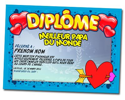 Diplome f te des p res cadeau personnalis et id e cadeau original - Cadeau personnalise fete des peres ...